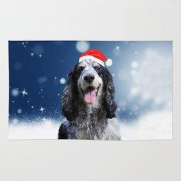 Cute Cocker Spaniel Dog Snow Stars Blue Christmas Rug