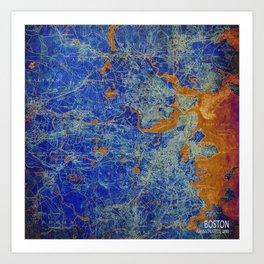 Boston Massachusetts 1893 colorful vintage old map. Orange and blue artwork Art Print