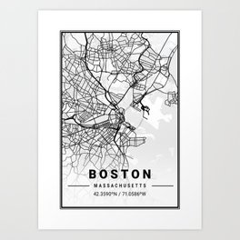 Boston Light City Map Art Print
