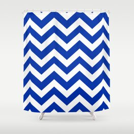 International Klein Blue - blue color -  Zigzag Chevron Pattern Shower Curtain