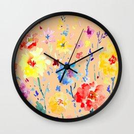 Watercolor Decorative Poppy Orange Background Wall Clock