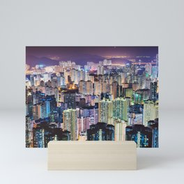 Kam Shan Country Park City-scape, Hong Kong nighttime portrait #1 Mini Art Print