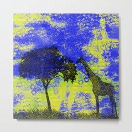 Giraffe Stamp Blue Yellow Metal Print