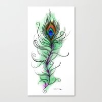 peacock feather Canvas Prints featuring Peacock Feather by Vicky Ink.