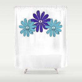 Hippie Peace Sign Flower Power Purple Aqua Distressed Look Shower Curtain