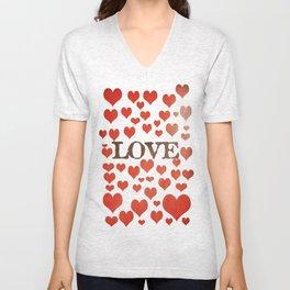 Love Heart Valentines Design  Unisex V-Neck