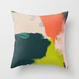 Green Landscape Abstract Art in Green, Orange 04 Throw Pillow