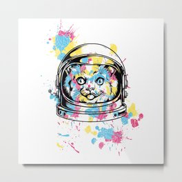 Astronaut Cat Metal Print
