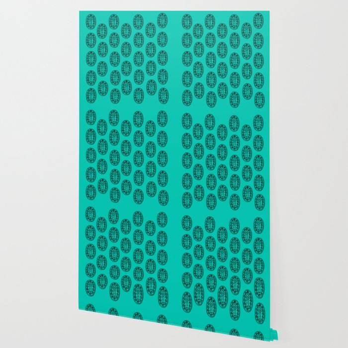 Ancient Egyptian Amulet Pattern Turquoise Blue Wallpaper