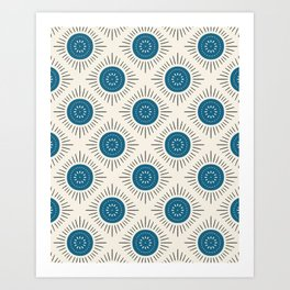 Blue Geometric Art Deco Pattern Art Print