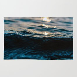 Blue Ocean Waves and Sunset Rug