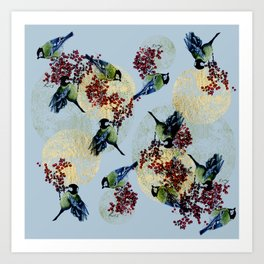 Little Blue Birds Art Print