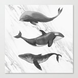 Ocean Whales Marble Black and White Canvas Print