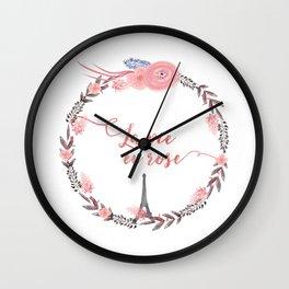 La Vie en rose Typography Wall Clock