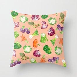Peach pink veggies illustration pattern | Vegetables pattern Throw Pillow