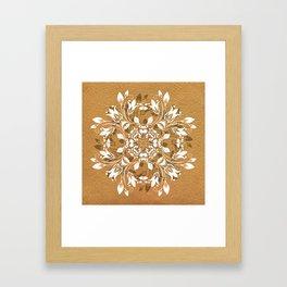ELEGANT GOLD AND WHITE FLORAL MANDALA Framed Art Print