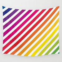 striped Wall Tapestries featuring Striped Rainbow by Stephanie Keyes Design