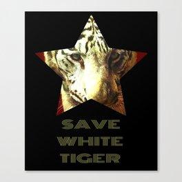 Save White Tiger, tiger print, white tiger wall decor, tiger gift idea Canvas Print