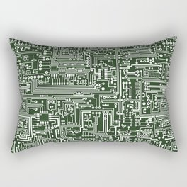 Circuit Board // Green & White Rectangular Pillow