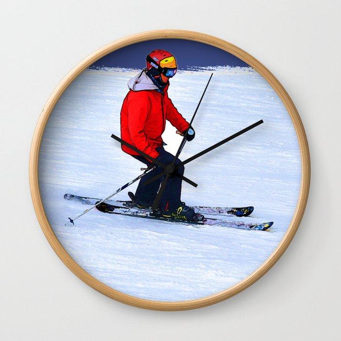 Winter Run - Downhill Skier Wall Clock