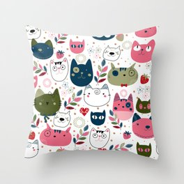 Modern Cat Pattern Throw Pillow