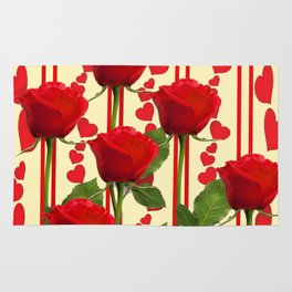 YELLOW SCARLET ROSES & RED VALENTINE HEARTS Rug