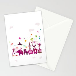 colorful circus carnival traveling in one row on white background Stationery Cards