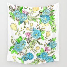 Blue Wildflowers Wall Tapestry