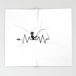 Hearbeat Of A Fisherman Heartrate Fishing Hobby Throw Blanket