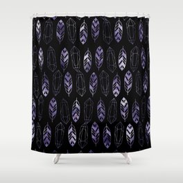 Purple Feathers and Gems on Black Pattern Shower Curtain