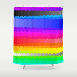 Rainbow and white S28 Shower Curtain