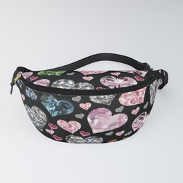 Heart Diamonds are Forever Love Black Fanny Pack