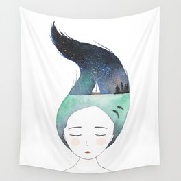 Dreaming about traveling the world Wall Tapestry