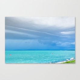 Before summer storm at a turquoise lake Canvas Print