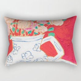 Delft Bird Pitcher on Red Background Rectangular Pillow