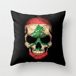 Dark Skull with Flag of Lebanon Throw Pillow
