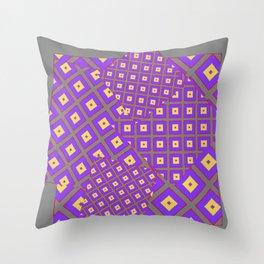 GREY PURPLE CREAM MODERN SQUARES ART Throw Pillow