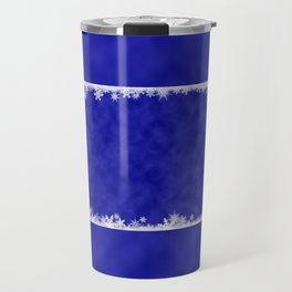 White snowflakes on blue Travel Mug