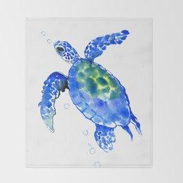 Blue Sea Turtle Throw Blanket