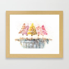 Watercolor Little Forest Illustration Framed Art Print
