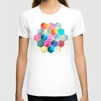 hexagon T-shirts featuring Crystal Bohemian Honeycomb Cubes - colorful hexagon pattern  by micklyn