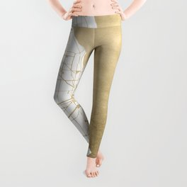 Chicago Gold and White Map Leggings