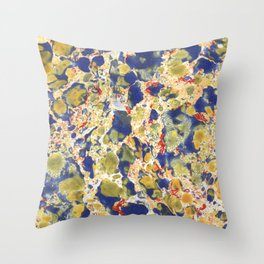 Marbling, yelow, blue and red Throw Pillow