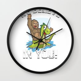 Bigfoot Riding Nessie We Believe in You Loch Ness Wall Clock