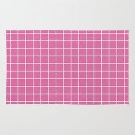 Thulian pink - violet color - White Lines Grid Pattern Rug