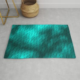 Line texture of light blue oblique dashes with a bright intersection on a luminous charcoal. Rug