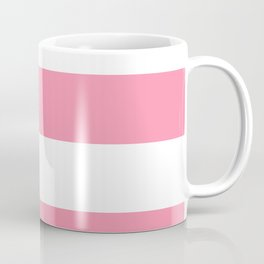 Wide Horizontal Stripes - White and Flamingo Pink Coffee Mug