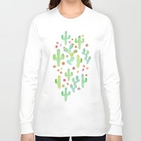 cacti Long Sleeve T-shirts featuring Watercolor Cacti by Tangerine-Tane
