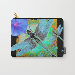 BLUE DRAGONFLIES MORNING GLORIES BLACK ART Carry-All Pouch