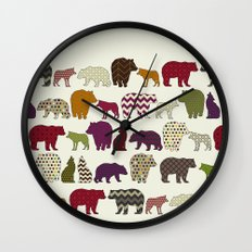bear wolf geo party Wall Clock
